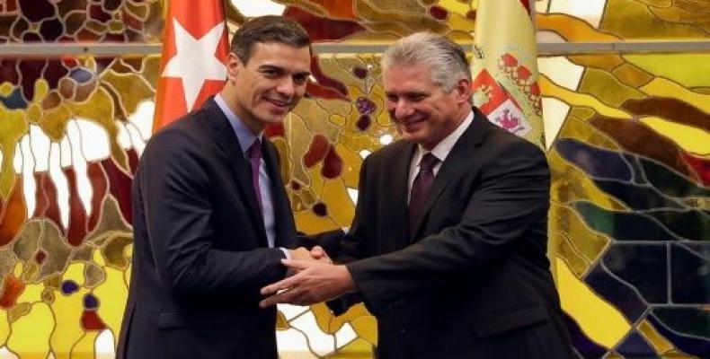 Spanish Prime Minister Pedro Sanchez and Cuban President Miguel Diaz-Canel