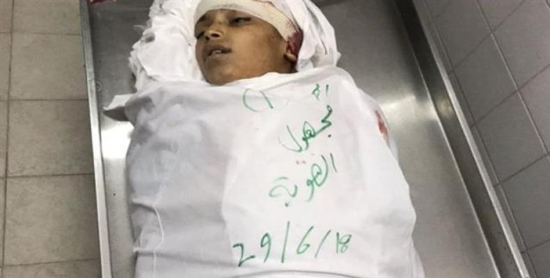 A Palestinian boy who was killed by Israeli forces in the Gaza Strip on June 29, 2018.  Photo: Reuters