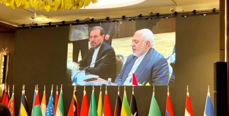 Iranian foreign minister at ministerial meeting of the 18th NAM Summit in Baku.  (Press TV)