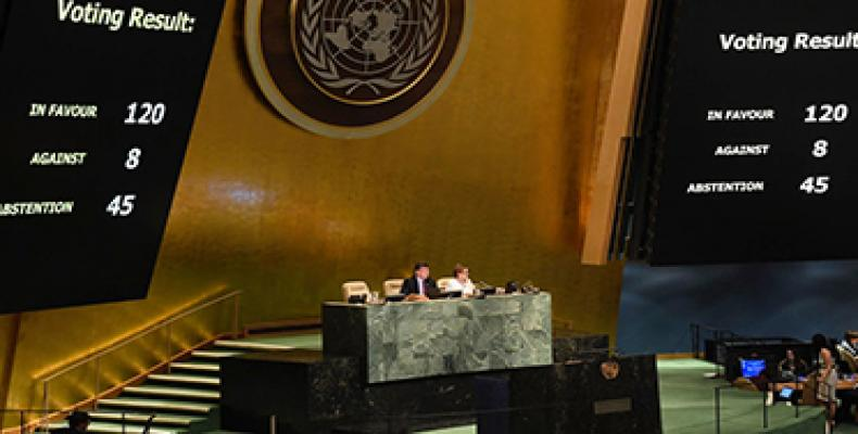 The UN General Assembly votes on and adopts resolution on the Protection of the Palestinian civilian population.UN Photo/Evan Schneider