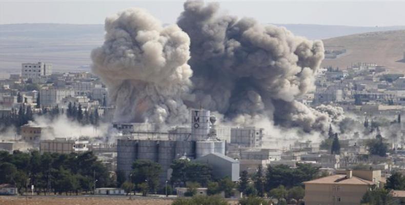 U.S. air strike on Syria.  Photo: AFP