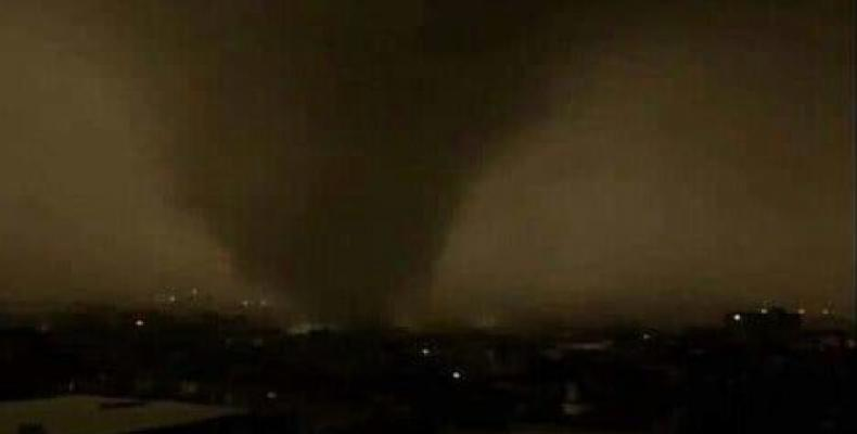 Image of the tornado as posted on Twitter by witnesses