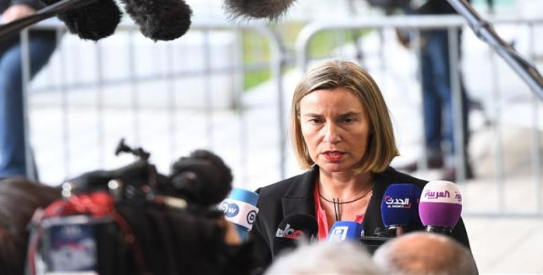 EU foreign policy chief Federica Mogherini arrives to attend an EU foreign affairs council in Luxembourg on April 16, 2018.  Photo: AFP