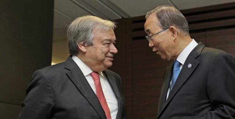 Antonio Guterres y Ban Ki-moon