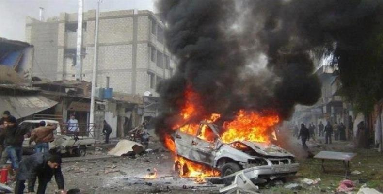 File photo shows the aftermath of a car bomb attack in Mosul, Iraq, on April 16, 2018.   Photo: Reuters
