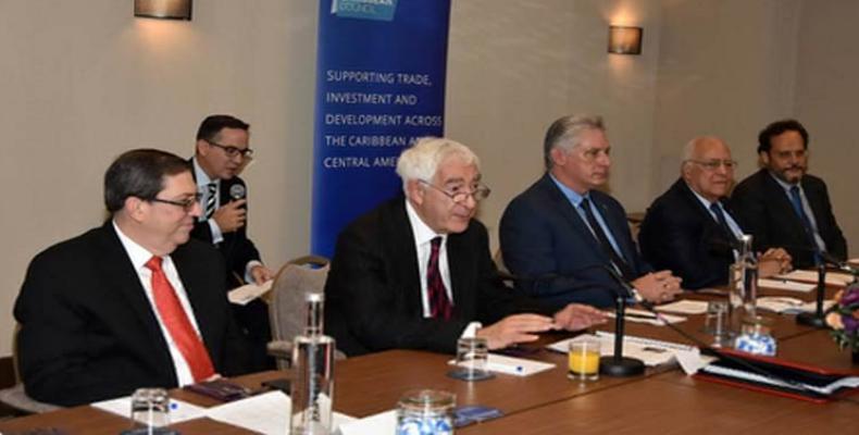 Cuban president meets with British business people.  Photo: Prensa Latina
