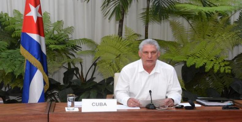 Cuban President Díaz-Canel speaking at the ALBA-TCP virtual conference
