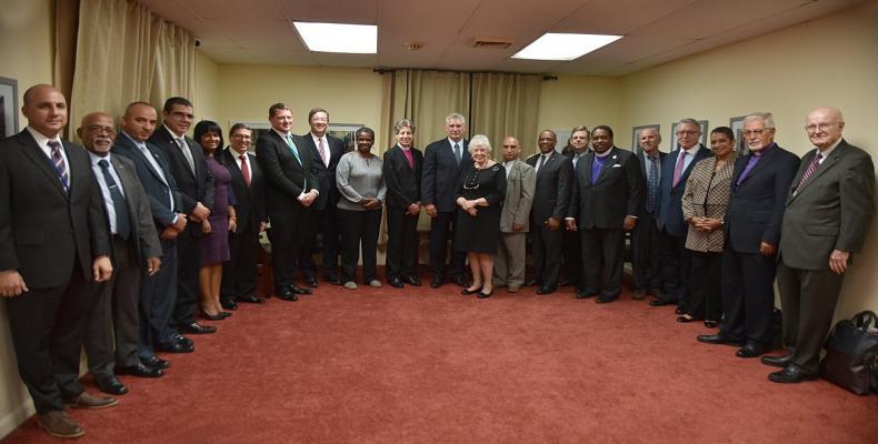 Cuban president Miguel Diaz Canel meets US religious leaders. Twitter @aparedesrebelde Photo