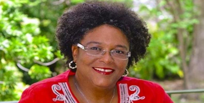 Mottley, 52, becomes Barbados' eight Prime Minister and the fifth female head of government in the English speaking the Caribbean.  Photo: Twitter @MiaAmorMottl