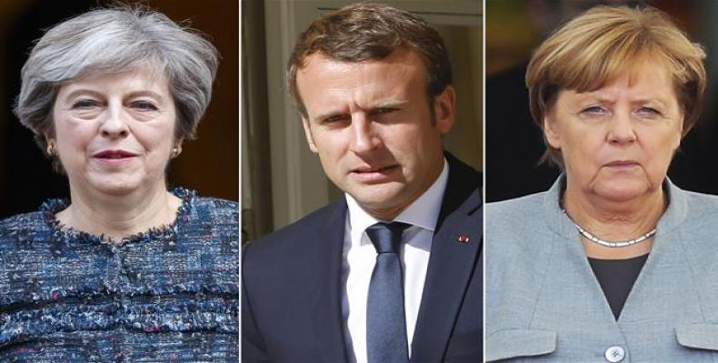 British Prime Minister Theresa May (L), French President Emmanuel Macron (C), and German Chancellor Angela Merkel.  Photo: File composite