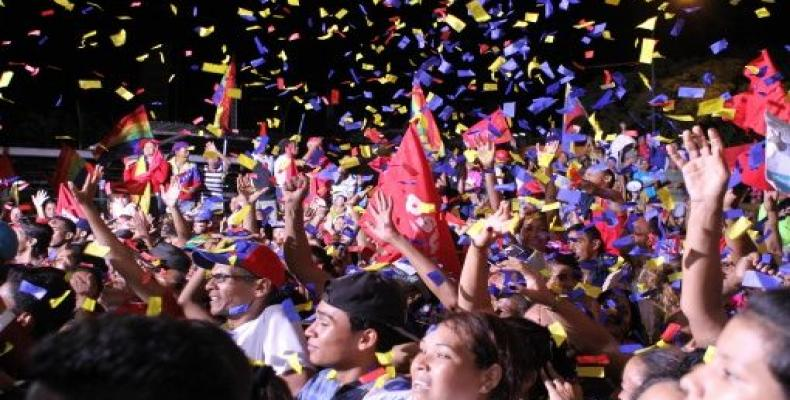 PSUV voters celebrate victory in the state of Miranda