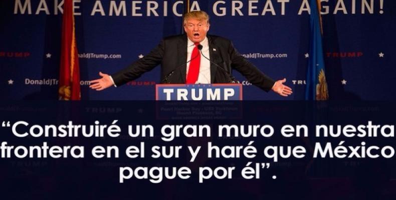 """""""Je dresserai un grand mur sur notre frontière Sud et je ferai que le Mexique le paie."""""""