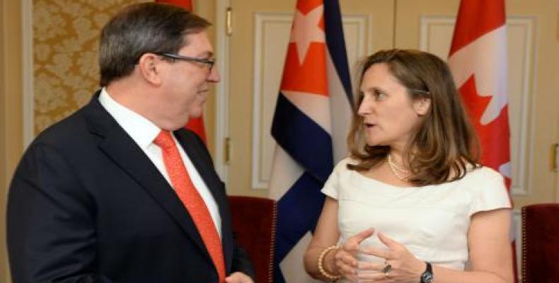 Le ministre cubain des Affaires étrangères et son homologue canadienne à La Havane, en mai 2019.