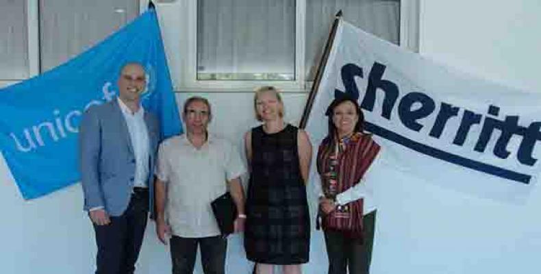 Unicef y Sherritt firman alianza en Cuba. Foto: @UNICEFCuba/ Twitter.