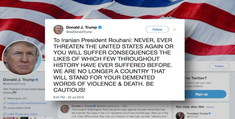 Donald Trump threatens attack against Iran.  Photo: Twitter