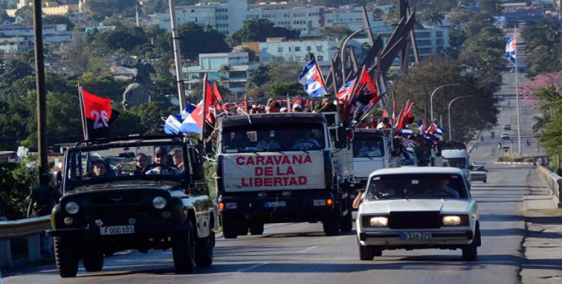 Cuban president recalls arrival of 1959 Freedom Caravan to Havana.  Photo: Prensa Latina