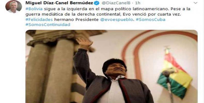 Felicita presidente cubano a su homólogo boliviano por su reelección. Foto: PL.