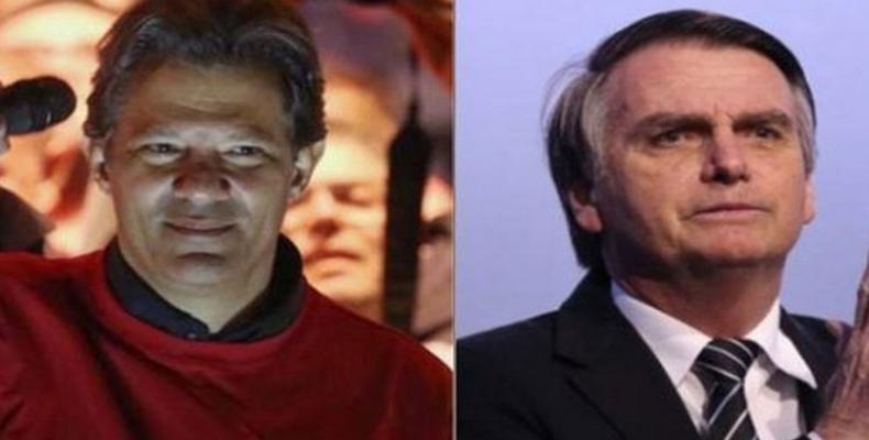 Fernando Haddad kaj Jair  Bolsonaro al dua elekta rondo