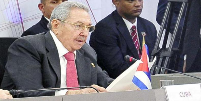 Cuban President Raul Castro addresses participants at the 15th Summit of ALBA-TCP, March 5, 2018. Photo/Estudios Revolucion