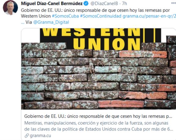 Miguel Díaz-Canel rend les États-Unis responsables de l'arrêt des transferts de fonds par Western Union