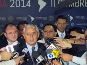 Presidente de Guatemala, Otto Pérez Molina ofrece declaraciones a la prensa