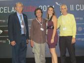 Equipo de trabajo de Radio Habana Cuba, de izquierda a derecha, el periodista José Emilio Oliveros, el director de RHC , Isidro Fardales , La periodista Danay Galletti y el editor de sonido Alejandro